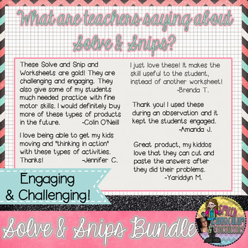 Solve & Snips Personal Use Bundle Grades 2nd-8th Grade (English)