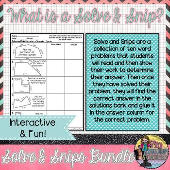 Solve & Snips Bundle Grades 2nd-8th Grade (79 English Solve and Snips)