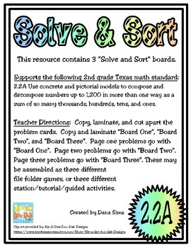 Solve & Sort: Compose and Decompose Numbers (TEKS 2.2A)