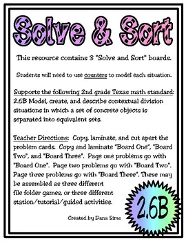 Solve & Sort: Division Situations (TEKS 2.6B)