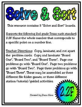Solve & Sort: Points on a Number Line (TEKS 2.2F)