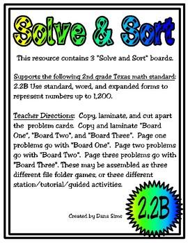 Solve & Sort: Standard, Word, and Expanded Forms (TEKS 2.2B)