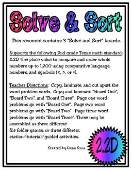 Solve & Sort: Compare and Order (TEKS 2.2D)