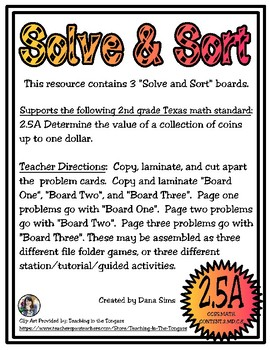 Solve & Sort: Collection of Coins (TEKS 2.5A)
