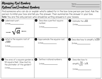 Square Root Word Problems - Worksheets and Find Someone Who