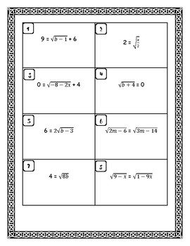Solve Square Root and Cubic Root Equations Task Cards