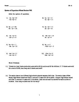 Solve System of Equations by Elimination