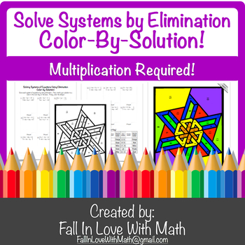 Solving Systems Using Elimination (Multiplication) Color-by-Number!