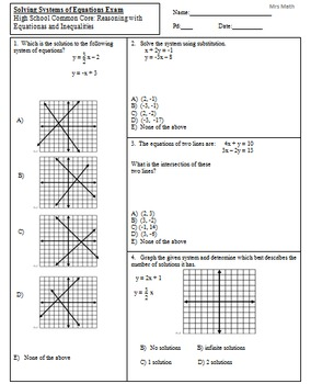 Solve Systems by Graphing, Substitution, & Elimination Exam
