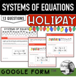 Solving Systems of Equations Any Method- Holiday activity