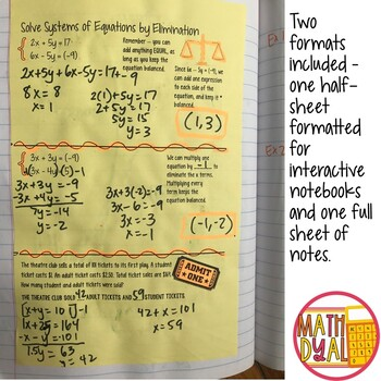 Solve Systems of Equations By Elimination Interactive Notes