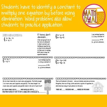 Solve Systems of Equations By Elimination with Multiplication Interactive Notes