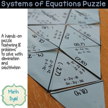 Solve Systems of Equations Puzzle by Math Dyal | TpT