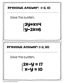 Solve Systems of Equations Scavenger Hunt Activity