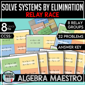 Solve Systems of Equations by Elimination Relay Race