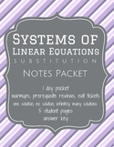Solve Systems of Equations by Substitution - Notes (Worksheets)