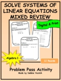 Solve Systems of Linear Equations Mixed Review | Digital - Distance Learning