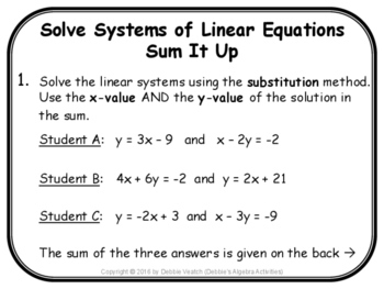 Solve Systems of Linear Equations Sum It Up Activity