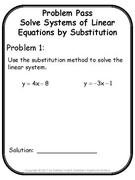 Solve Systems of Linear Equations by Substitution Problem Pass Activity