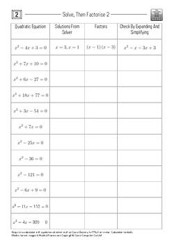 Solve, Then Factorise 2