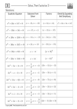 Solve, Then Factorise 3