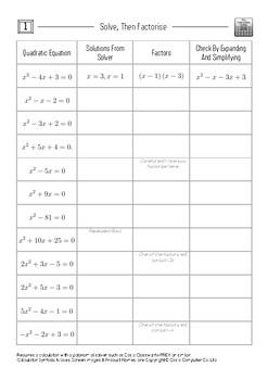 Solve, Then Factorize 1