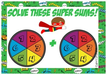 Solve These Super Sums - Super hero themed addition and subtraction games