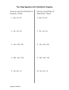Solve Two Step Equations with Distributive Property