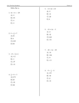 Solve Two-Step Equations Algebraically Perfect Practice Sheets (7.EE.4 & 8.EE.7)