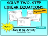 Solve Two-Step Linear Equations Sum It Up Activity
