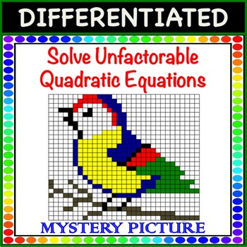 Solve Unfactorable Quadratic Equations Differentiated Mystery Picture Color!