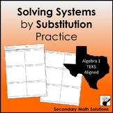 Solving Systems by Substitution Practice (A5C)
