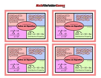 Solve an Equation = Poster/Anchor Chart with Cards for Students