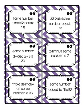 Solve an Equation Task Cards