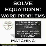Linear Equations from Word Problems Task Card Activity