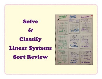 Solve & Classify Systems of Equations Interactive Notebook