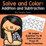 Math Solve and Color: Addition and Subtraction