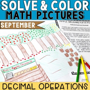 Solve and Color Decimal Operations | September Math Activities