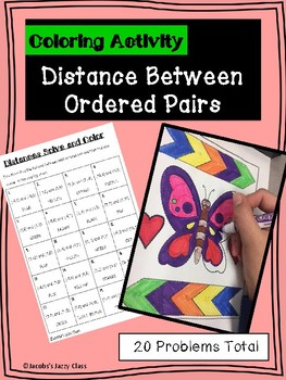 Solve and Color Distance Between Ordered Pairs- No Prep, Great for Sub Plans