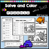 Solve and Color with a Twist First Grade Math Worksheet FREEBIE