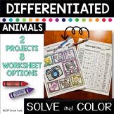Solve and Color Addition and Subtraction Math Worksheets - Animals