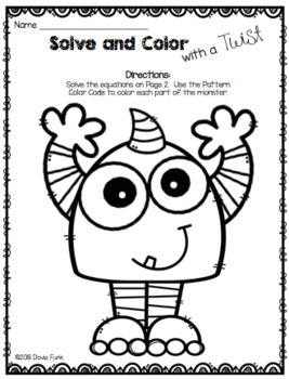 Solve and Color with a Twist Worksheets - Happy Monsters