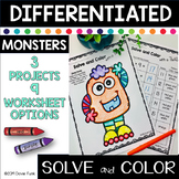 Solve and Color with a Twist Math Worksheets - Happy Monsters