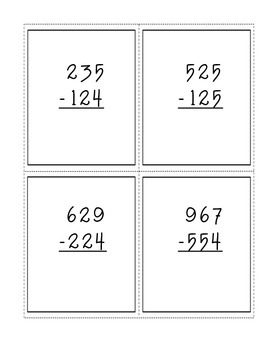 Solve and Cover: Three Digit Subtraction (no regrouping) Math Center Game