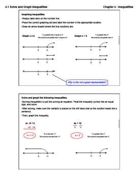 Solve and Graph Inequalities on a Number Line (Lesson Plan with Homework)