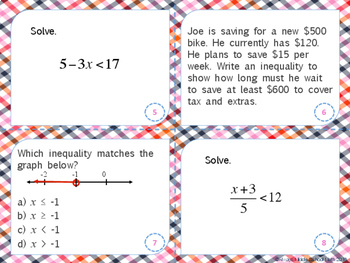 Solve and Graph Multi-Step Inequalities Task Cards (Scoot!)