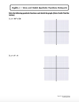 Solve and Sketch Quadratic Functions (Lesson Plan with Homework)