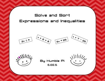 Solve and Sort: Equations and Inequalities- 6.EE.5