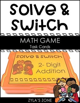 Solve and Switch Math Task Cards | 2- Digit Addition