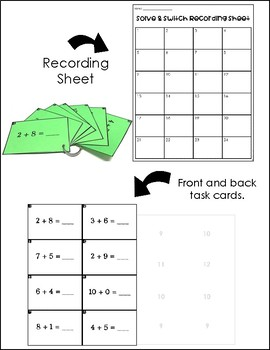 Solve and Switch Math Task Cards | Math Centers | Basic Addition